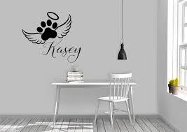 Amazon Com Dog Paw Print Angel Wings With Custom Name Vinyl Wall Words Decal Sticker Graphic Handmade