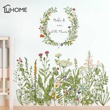 Flower Green Grass Baseboard Wall Stickers Skirting For Balcony Living Room Mural Art Home Decoration Pvc Wall Decal Wall Stickers Aliexpress