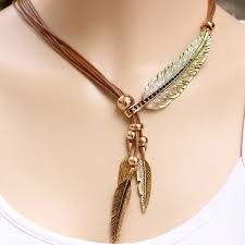 antique silver feather collar necklace