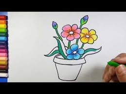 easy simple flower pot drawing you