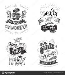 set of coffee quotes vector hand drawn lettering stock
