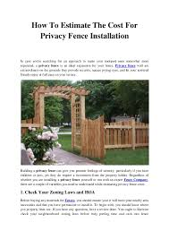 How To Estimate The Cost For Privacy Fence Installation