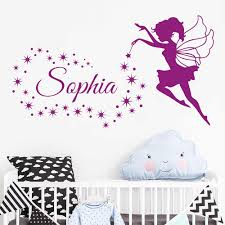 Custom Name Fairy Angel Stars Wall Decal Personalized Nursery Babys Name Vinyl Removable Sticker Kids Bedroom Decoration B310 Wall Stickers Aliexpress