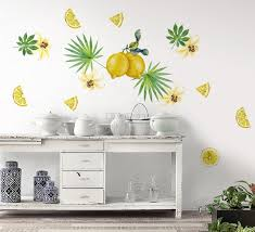 Yellow Lemon With Lily Florals Wall Decal Sticker Wall Decals Wallmur