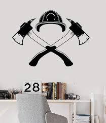 Vinyl Wall Decal Firefighter Fireman Axes Helmet Stickers Unique Gift Wallstickers4you