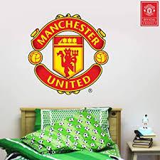 Amazon Com Beautiful Game Ltd Manchester United Football Club Official Crest Wall Sticker Man Utd Logo Decal Set Vinyl Poster Print Mural Art 120cm Home Kitchen