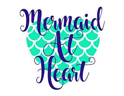 Amazon Com Mermaid At Heart Decal Choose The Color And Size For Car Windows Yeti Cups Laptop Water Bottle Etc Metallic And Glitter Handmade