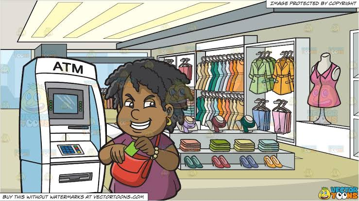 Image result for a woman shopping for clothes with an atm""