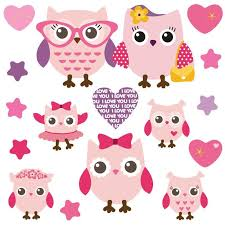 Pink Family Owls Wall Stickers Get Sticking