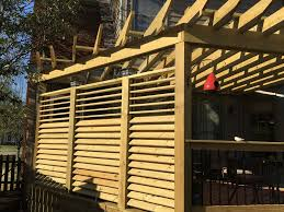 Diy Louvered Privacy Wall With One Simple Hardware Kit Flexfence The Flexibility To Open And Close The Louvers Really Wood Pergola Metal Pergola Diy Pergola