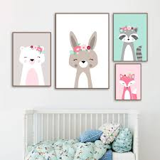 Raccoon Rabbit Fox Head Flower Animal Wall Art Canvas Painting Nordic Posters And Prints Wall Pictures Kids Room Decor Painting Calligraphy Aliexpress