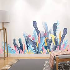 Amazon Com Amaonm Creative Cartoon Removable 3d Under The Sea World Nature Scenery Wall Stickers Ocean Grass Colorful Seaweed Baseboard Wall Decal For Wall Corner Nursery Room Bathroom Living Room Coral Home
