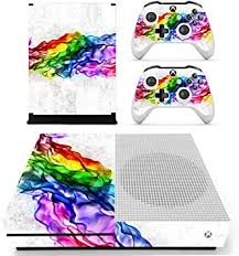 Amazon Com Fottcz Whole Body Vinyl Skin Sticker Decal Cover For Microsoft Xbox One Slim Console Rainbow Ink Computers Accessories
