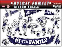 Amazon Com Football Fanatics Ncaa Tcu Horned Frogs Family Decals Sheet Sports Fan Wall Decor Stickers Sports Outdoors