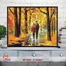 Tranh tự tô màu DIY sơn dầu số hóa về tình yêu - Mã TY0507 Sánh đôi