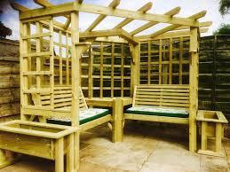 garden arbour seat pergola trellis wood