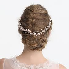 women prom gold leaves hair