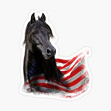 Black Morgan Horse Stallion With America Usa Flag Spiral Notebook By Kirikina Redbubble