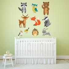 woodland animals nursery wall sticker set