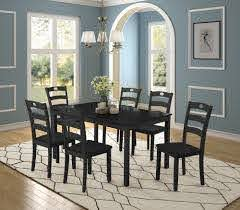 Dining Room Table Set 7 Piece Dining Table Sets With Dining Chairs For 6 Heavy Duty Wooden Rectangular Kitchen Table Set With Black Finish For Home Kitchen Living Room Restaurant L941