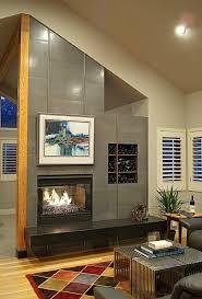 see through fireplace metalic tile