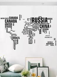 World Map Country Name Print Wall Sticker Romwe Usa