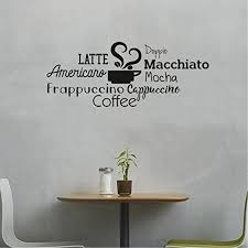 Amazon Com Coffee Mocha Latte Cappuccino Words Sign Wall Art Decal 16 X 40 Decoration Wall Art Vinyl Sticker Kitchen Wall Art Decor Funny Coffee Lovers Quotes Wall Decor Cafe