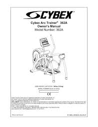 cybex arc trainer 362a owner s manual