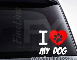 I Heart My Dog With Paw Print Vinyl Decal Sticker