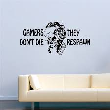 game vinyl wall decal quotes gamers don t die they respawn skull