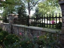 Custom Metal Fence On Stone Wall Fence Design Exterior Stone Metal Fence