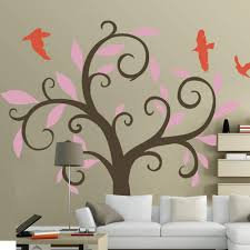 Amazon Com Nature Tree Wall Decal Vinyl Tree Wall Quote Birds Wall Decal Wall Sticker Wall Mural Nursery Wall Decor 3 Tree Trunk Brown Leaves Soft Pink Birds Orange Home Kitchen