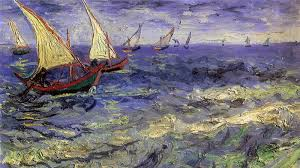 sailing boat on sea painting vincent