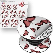 Decal Style Vinyl Skin Wrap 3 Pack For Popsockets Butterflies Pink