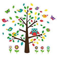 Amazon Com Baby Nursery Decor Birds Flowers And Owl Wall Decal Garden Theme 45 Large Tree Mural For Kids Playroom Decoration By Dekosh Baby