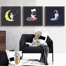 Cartoon Astronaut Moon Nordic Canvas Painting Home Wall Art Decor Print Kid Bedroom Picture Black And White Art Decor Painting Nana S Corner Beauty Cosmetic