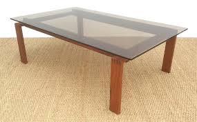 danish teak coffee table with bronzed