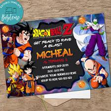 Dragon Ball Birthday Invitation Dragonball Z Invitation Printable