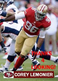 COREY LEMONIER 2013 SAN FRANCISCO 49ERS FOOTBALL CARD