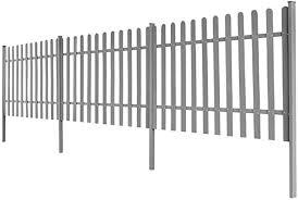 Vidaxl Wpc Picket Fence With 3 Posts 6x1m Grey Outdoor Garden Barrier Panel Amazon Co Uk Kitchen Home