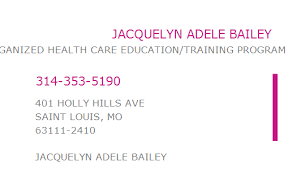 1699238204 NPI Number | JACQUELYN ADELE BAILEY | SAINT LOUIS, MO | NPI  Registry | Medical Coding Library | www.HIPAASpace.com © 2020