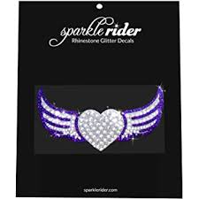 Amazon Com Sparkle Rider Heart And Wings Rhinestone Decal Stickers Unique Girly Accessory Gift For Her Women S Waterproof Bling Decor For Car Motorcycle Helmet Wall Window Automotive