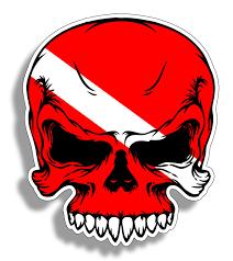 Amazon Com Diver Down Scuba Skull Flag Sticker Face Dive Gear Tank Bag Ocean Beach Vinyl Decal Graphic Locker Die Cut Digital Car Truck Boat Kayak Yak Sail Beauty