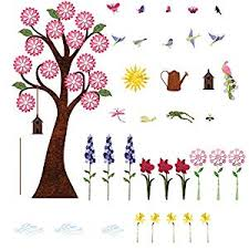 1 Flower Wall Stickers For Girls Room Repositionable Amp Removable Garden Wall Decals For Girls Room Wall Mural Wow Nerecreyerny