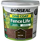 Ronseal Rslocfldo5l One Coat Fence Life Dark Oak 5 Litre Amazon Co Uk Diy Tools