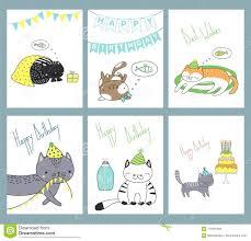 Sistema De Tarjetas De Cumpleanos Con Los Gatos Ilustracion Del