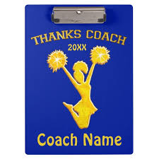 personalized blue and gold cheer coach