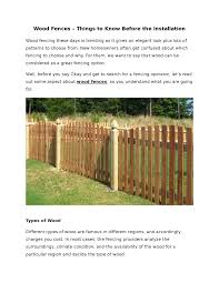 Wood Fences Things To Know Before The Installation Authorstream