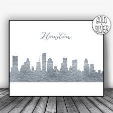 Houston Skyline Houston Texas City Art Print Houston Cityscape Etsy