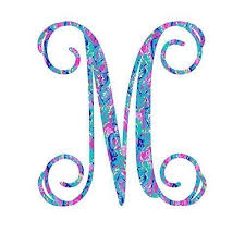 Amazon Com Personalized Vine Monogram M Initial Sticker Decal For Yeti Cups Laptops Tumblers Or Car Window Accessories Preppy Monogrammed Gifts For Women Blue Pink Teal 3 25 Inches Handmade